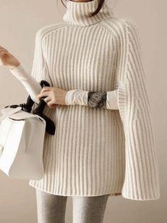 Cowl Neck Striped Cape Sleeve #PULLOVER #fashion