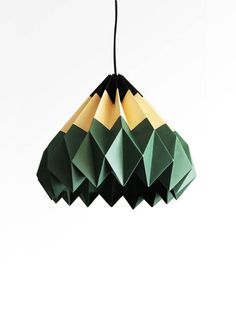 Pencil / Origami Paper Lamp Shade  Green by TwReborn on Etsy