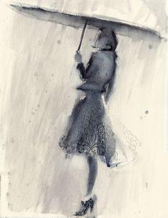 pretty umbrella watercolor. i think i'm obsessed with umbrellas in art