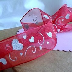 Sheer Red with White Sparkle Hearts Wire by ThisandThatCrafter