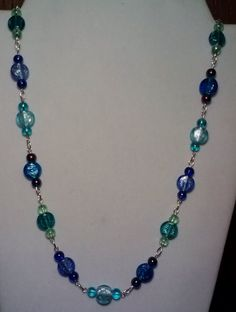 Handmade Beaded Necklace with Mixed Blue by KimsSimpleTreasures, $20.00