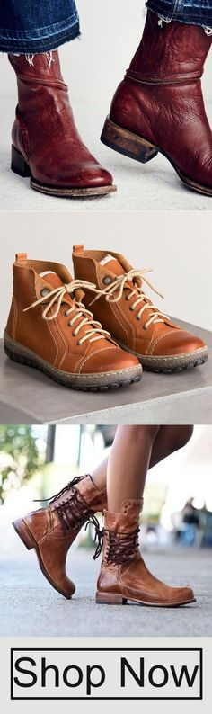 GET$5OFF OVER$69 (CODE:TOPIA5) Laddytopia Waterproof Leather & Suede Buckle Boots;Vintage Lace-Up Back Zipper Mid-calf Boots;Women Distressed Ankle Boots Pointed Western Style Leather Boots Boot Socks, Bootie Boots, Shoe Boots, Shoes Sandals, Crazy Shoes, Me Too Shoes, Sensible Shoes, Buckle Boots, Fall Shoes