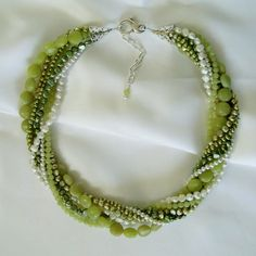$215.00 Green Toursade 7 Strand Freshwater Pearl and New Jade Necklace with Earrings Set