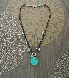 Turquoise Pendant Necklace - Brown Wax Wire Cotton Necklace with Turquoise Pendant and Turquoise Beads - Native Inspired