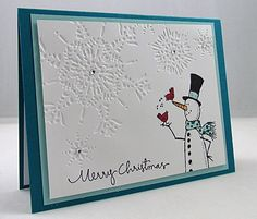 Kristie G. @ Catherine Pooler: Creativity Grows Here – Christmas Card Swap – 12/12/12. (SU: Snow Much Fun stamps; Northern Flurry EF).
