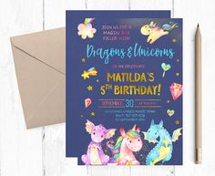 CUSTOMIZED Dragon and Unicorn Party Invitation Boy and Girl Magical