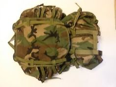 MOLLE Woodland Camo Equipment Army Backpack w/ Two Sustainment Pouches Molle Rucksack, Woodland Camo, Pouches, Outdoor Blanket, Army, Backpacks, Gi Joe, Military, Backpack