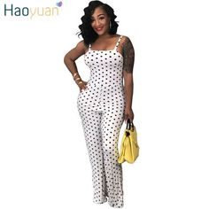 db737816ad22 HAOYUAN Polka Dot Sexy Jumpsuit 2018 Summer Overalls One Piece Backless  Spaghetti Strap Wide Leg Pants Rompers Womens Jumpsuit