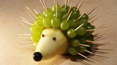 Recipes for kids. Hedgehog of Pear and Grapes. Hello everybody. Today we are going to make a funny hedgehog of a pear and grapes for kids. Let your piccaninn...