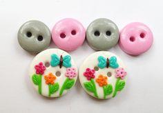 Garden Flowers Buttons polymer clay handmade buttons by ayarina