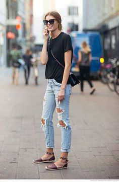 ripped denim and black t-shirt