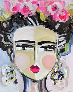 Frida Kahlo pintura original sobre lienzo 24 x 30 lienzo de