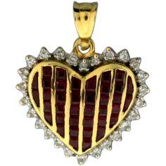 #VintageBeginsHere at www.rubylane.com @rubylanecom --Ruby and Diamond Heart Pendant