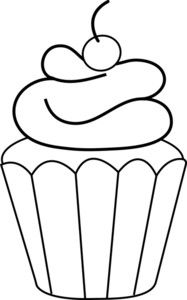 Coloring Page Clipart Image: Frosted Cupcake Coloring Page