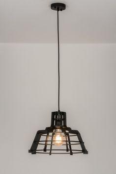 Belgium . Home interior lights / ONLINE SHOP : click on this LINK ( www.rietveldlicht.be ) Geschikt voor LED .  Industriële vormgeving . Deze hanglamp heeft de ideale mix! De vormgeving is simpel, open en doet industrieel aan. De uitstraling echter is stoer maar sfeervol en past in vele opzichten bij de trends van dit moment. De hout kleur is zwart waardoor het stoere karakter wordt versterkt. Door deze verrassende combinatie is deze lamp goed toepasbaar in vele interieurstijlen.
