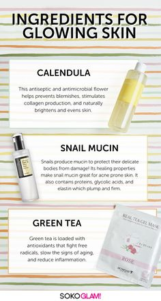 These natural skincare ingredients will get you glowing! Calendula has antiseptic and antimicrobial properties that help prevent breakouts, stimulate collagen production, and naturally brightens and (Skincare Ingredients) Creme Anti Age, Korean Skincare Routine, Glycolic Acid, Acne Prone Skin, Oily Skin, Exfoliate Skin, Tips Belleza, Skin Brightening, Skin Care Products