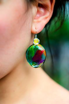 Earrings Resin with Parrot Feathers in Colored Transparent Resin. Real Feathers. Natural Colorful Composition. Exotic Summer Jungle Design.