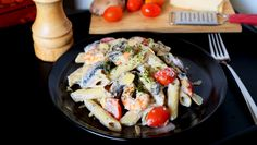 This here is a super creamy penne pasta with a ricotta-based sauce and wonderful portobello mushrooms and cherry tomatoes (or as I like to call them - 'CHEERY' tomatoes) that you can easily make and serve in less than 30 minutes! Ain't life grand? #kitchenmissus