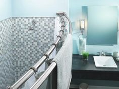 Buy the Moen Chrome Direct. Shop for the Moen Chrome Double Curved Shower Rod and save. Double Shower Curtain Rod, Cool Shower Curtains, Shower Rods, Shower Stalls, Shower Storage, Bathroom Storage, Bar Design, Design Ideas, Thing 1