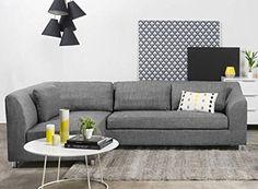 FabHomeDecor Mia FHD631 Three Seater Sectional Sofa (Grey)