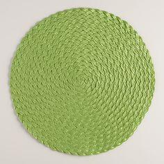 Kiwi Green Round Braided Placemats, Set of 4