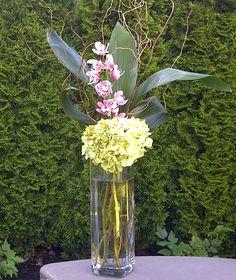 Ceremony Arrangements:  Hydrangea, Mini Cymbidium Orchids, Aspidistra Leaves & Curly Willow