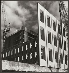 Lifting and fitting pre-cast concrete panels, Government Laboratories block, State Government Offices, Macarthur Street, East Melbourne