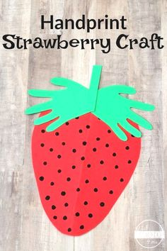 Strawberry Hand Art Craft for kids - this is such a cute summer craft for toddler, preschool, prek, and kindergarten age kids. Such a darling keepsake. Arts and Crafts Strawberry Crafts, Fruit Crafts, Jar Crafts, Flower Crafts, Strawberry Summer, Strawberry Art, Glue Crafts, Easter Crafts, Christmas Crafts