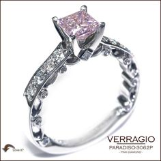 Pink Diamond Jewelry - rare and expensive, how much do they cost? Pink Diamond Jewelry, Pink Diamond Engagement Ring, Verragio Engagement Rings, Diamond Rings, Pink Jewelry, Rosa Bling, Bling Bling, Princess Cut Rings, Princess Cut Diamonds
