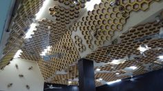 THAILAND - Honeycomb decoration on Chiang Mai Bee Farm tasting room ceiling.