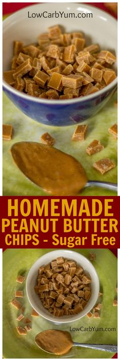 Here's how to make your own homemade sugar free peanut butter chips. These homemade peanut butter chips are perfect for baking or snacking. | LowCarbYum.com