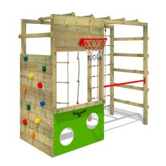 Need something that's sporty, smart and sophisticated? Then your garden needs the CleverClimber Club XXL climbing frame. Due to the seven awesome play options in the standard version alone, this real play feature has something for all ages and tastes. Kids Climbing Frame, Wooden Climbing Frame, Climbing Rope, Backyard Playground, Backyard For Kids, Backyard Gym, Playground Ideas, Jungle Gym, Backyard Games