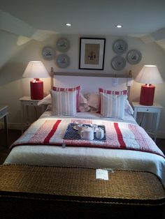 New England style bedroom layout @Okadirect #Broadway. Makes us want to redecorate. Loving the colour combination and symmetry.