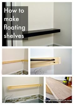 Floating shelves look great in any home. Make some yourself and add your favorite family photos and keepsakes for a personal touch.