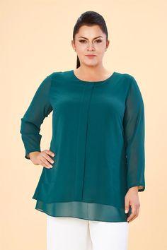 Lilas XXL Yeşil Şifon Büyük Beden Tunik Tunic Blouse, Tunic Tops, Chiffon, Skirt Fashion, Plus Size Women, Dress Up, Satin, Womens Fashion, Skirts