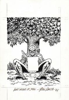 Spider-Man Book Cover (1980s) Comic Art For Sale By Artist John Romita Sr. at Romitaman.com
