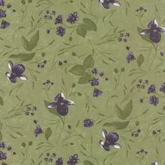 Moda-Fabric-LADY-SLIPPER-LODGE-Violets-on-Pine-Green-yards