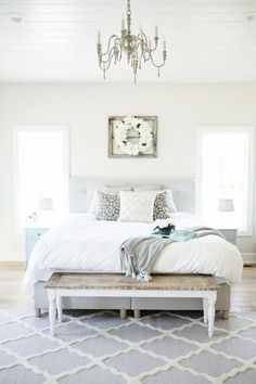 A couple of accessories can provide your master bedroom the feel that you're seeking to create. Bedroom sets and collections have matching pieces so that you can easily select bedroom decor you w Grey Bedroom Paint, Bedroom Colors, Bedroom Sets, Gray Paint, Cozy Bedroom, Romantic Master Bedroom, Farmhouse Master Bedroom, Bedroom Classic, Farmhouse Bed