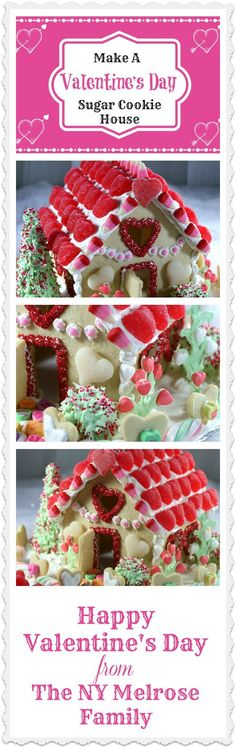 Valentine Dessert Sugar Cookie House Tutorial www.thenymelrosefamily.com  #valentinesday #dessert