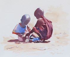 Watercolours by Hazel Soan Watercolor Paintings For Beginners, Kids Watercolor, Watercolor Drawing, Acrylic Portrait Painting, Watercolor Portraits, African American Art, African Art, Anubis Drawing, Africa People