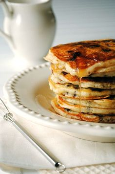 chocolate chip pancakes- super delicious with Katie Lyon's famous peanut butter cinnamon maple glaze