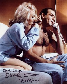 Nice Shot Of Shirley Eaton As Jill Masterson With Sean Connery From The 1964 James Bond Film Goldfinger 8 X 10 Photo Signed By Shirley Eaton