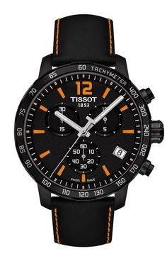 The Quickster is a new family of Tissot watches and is the watch of choice for sports fans. With a black leather strap topped with scratch-resistant sapphire crystal and a quartz movement Swiss made it guarantees perfect reliability. The design is timeless and the piece whilst sporty remains classic.