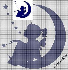 GIRL and moon x-stitch Fantasy Cross Stitch, Cross Stitch Fairy, Cross Stitch Angels, Cross Stitching, Cross Stitch Embroidery, Embroidery Patterns, Cross Stitch Designs, Cross Stitch Patterns, Cross Stitch Silhouette