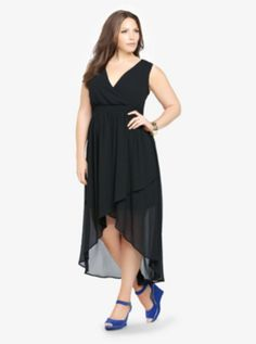 Chiffon Faux Wrap Hi-Lo Dress - If it hadn't been for the price, I would have bought this in the store on Wednesday. Now I want it, but can't remember the size I tried asdkjhf