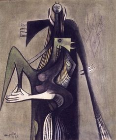 """""""The Oracle and the Green Bird"""", by Wifredo Lam (1947)"""