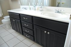 how to refinish current (bathroom) cabinets.  awesome...another one on my list of things to do...this one is actually on mine and not Tony's. lol