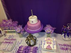 Purple princess birthday party! See more party planning ideas at CatchMyParty.com!