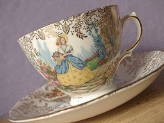 Vintage English Tea Cup and Saucer Set. Colclough Bone China.