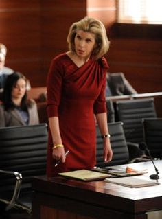 """The Good Wife."" Christine Baranski in an absolutely beautiful red dress. Fancy but elegant ***The EXACT look I have on my face about 20 times a day at work haha!***"